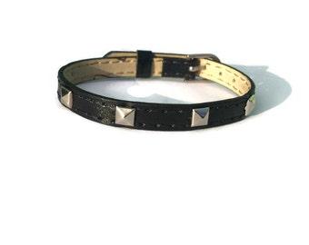 Vegan Leather Bracelet Wristband -  Silver Pyramid Studs - 8mm Black Strap -  Adjustable