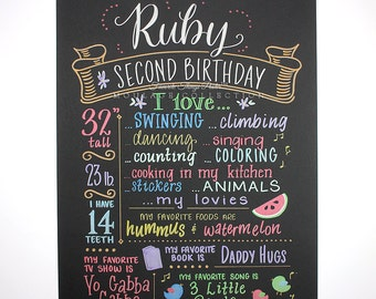"2nd birthday chalkboard style custom ink drawing on 15""x20"" art board, the original Favorite Things Poster™"