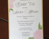5 x 7 Pink & Gold Shimmer Peony Custom Bridal Tea Invitation Double Layered with Envelope