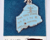 Vintage Sterling Silver State of Maine Charm for Bracelet with Blue Enamel - Nera