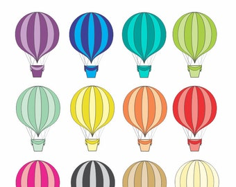 Hot air balloon clip art, 12 balloons rainbow colors, balloon clipart