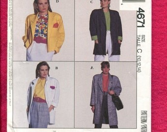 McCalls 4671 Classic Retro Coat or Jacket with Rolled Cuffs & Shoulder Pads Size 10 12 14 UNCUT