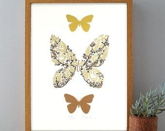 In the Garden Butterlfy Bronze & Gold Screenprint