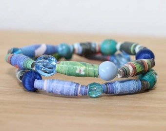 Runaway Bunny Recycled Paper Bead Bracelet Set, Stacked Bracelet Set Perfect for Teachers, Librarian Gift, Book Lover Jewelry