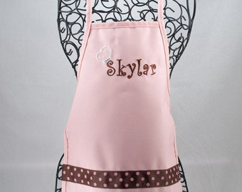 Child's Personalized Apron and Chef Hat Set Pink, Personalized Kid's Apron Set, Kid's Cooking Set, Chef Dress Up, Pink Apron Set