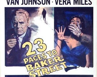 "23 Paces to Baker Street. 1956 Original 14""x18"" US Movie Poster. London England Mystery Crime Movie. Van Johnson, Vera Miles, Cecil Parker."