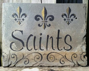 Saints and Fleur De Lis on Recycled New Orleans Roofing Slate