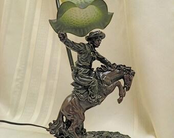 Vintage Cowboy Lamp Buckeroo Table Light Great Details & Terrific Shade Ride 'Em Cowboy!
