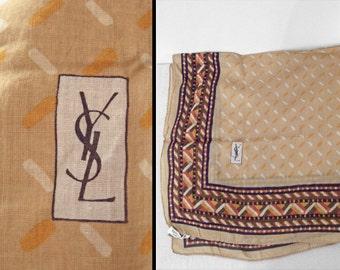 YVES Saint Laurent Scarf 1970s Cotton 26 Inch Square Tribal Autumn Colors
