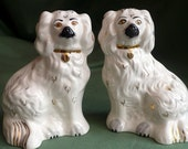 "Staffordshire King Charles Spaniels  pair Vintage Beswick Mantle Dog Figurines 8"" tall hall marked 1378-5 dated to 1955- 1997"