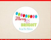 Christmas Lights Gift Stickers - Merry and Bright Stickers - Christmas Holiday Stickers - Digtal & Printed