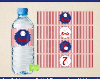 Baseball Water Bottle Labels -  Baseball Water Bottle Wraps - Sports Bottle Labels- Baseball Party Decor - Emailed & Shipped