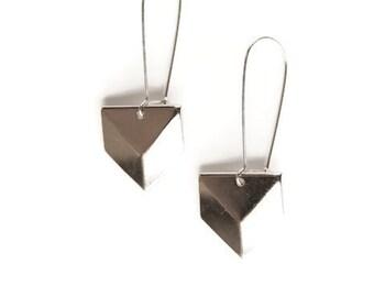 Geometric Silver Earrings - Chevron