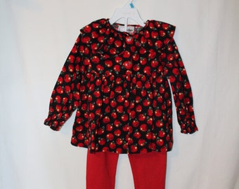 Vintage Toddler Girl Apple Dress/Tunic with matching red leggings, black corduroy, Size toddler 5/6 Little Girls