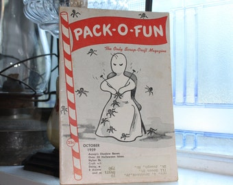 Vintage 1950s Pack-O-Fun Crafts Book Scrap Craft Magazine October 1959