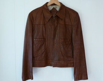 70's Men's Leather Jacket Angel Skin Cabretta Leather Hippie Boho Zip Front Motorcyle Brown 42 Reg