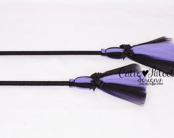 READY TO SHIP: Bewitched Broomstick - Purple & Black - Halloween Witch Broom Costume Accessory - Bitty Toddler Child Size