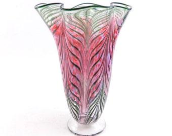 Peach Hand Blown Glass Vase - Art Glass Vase