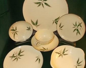 Nunome Willow China Dinnerware Lot Vintage 11 Piece Vintage Replacement China Lot Dinnerware Platinum Rim Fine China Made In Japan