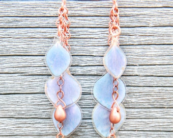 Natural Flower Jewelry - Blue Hydrangea Pressed Flower Earrings with Copper Glass Beads