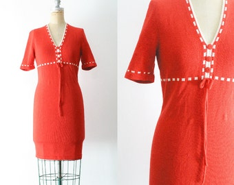 Vintage 1970s Orange Knit Dress 70s Orange Dress 70s Knit Dress Peasant Dress Pumpkin Dress Pumpkin Costume Small Medium Size 6 Size