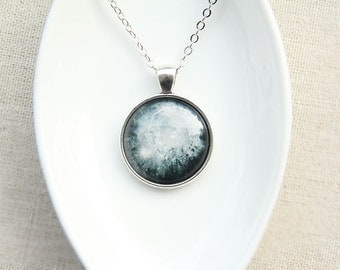 Moon Necklace -Crater Copernicus on the Moon- Astronomy Jewelry - Galaxy Series (G100)