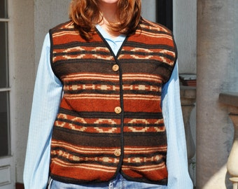 Vintage Wool Ethnic Native Southwestern Tribal Blanket Vest Earth Tones