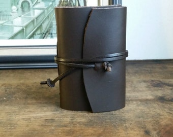 "Leather Journal, Dark Brown ""The Gentlemen"" 3 x 4.5 Hand-Bound Journal by The Orange Windmill on Etsy 1644"