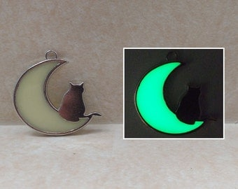 CAT and Crescent MOON Pendant Necklace - GLOW in the Dark Kitty Silver Charm - Green, Blue, Aqua, White, Purple, Pink, Orange, Red
