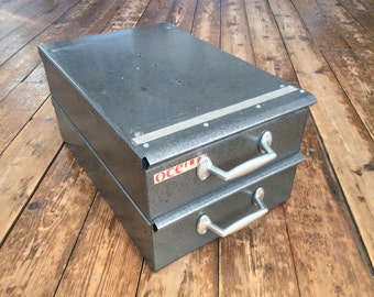 Set of two vintage industrial stackable grey metal storage drawers or boxes with hinged lids