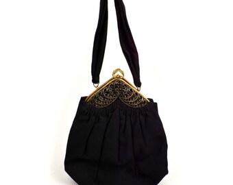 1940's Guild Creations Handbag // Vintage Black Fabric Purse with Multi-color Rhinestone Frame