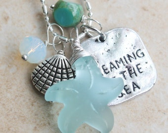 Charm Necklace, Starfish Necklace, Sea shell, Dreaming of the Sea, Inarajewels, Jewelry Gift