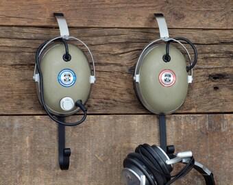 Vintage Headphone Hangers Wall Hooks - Repurposed pair of 1970s Koss Pro/4AA