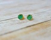 Green Druzy Stud Earrings