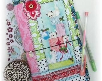 OOAK Fauxdori, Kitten Christmas Midori, ScrappyDori, Traveler's Notebook, Free Insert!