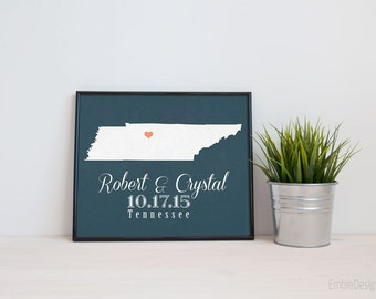 Tennessee or ANY STATE Wedding Gift - Personalized State and Heart Silhouette  - Custom Wedding Date - Location Map Modern Art Print - 8x10