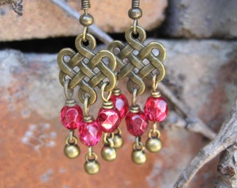 Gypsy Boho - Eternal Life Symbol Charms - Red Beaded Eternal Knot Chandelier Earrings - Celtic Knot Earrings
