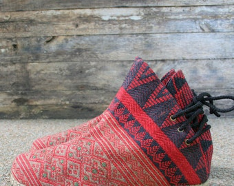 Tribal Womens Ankle Boots In Red Ethnic Naga, Embroidered Short Boots Vegan - Amber
