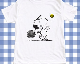 NEW Snoopy Tennis Screen Printed T-shirt Peanuts  Custom T-Shirt Baby boy/Girl ALL SIZES