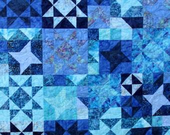 Batik Patchwork Quilt, Starlight, Queen / King size Handmade by PingWynny Blue Star