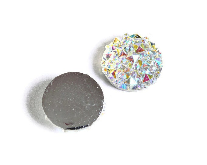 12mm Rainbow silver AB round resin cabochon - Faux druzy cabochon - Faux drusy cabochon - Textured cabochons (1675) - Flat rate shipping