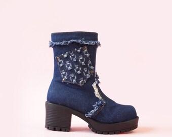 Patchwork Denim 90s Chunky Platform Ankle Boots, 90s Denim Boots, Vintage 90s Club Boots, Women's Size US 7