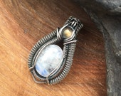 Wire Wrapped Pendant, Heady Wire Wrap, Wire Wrap, Moonstone Pendant, Wire Wrap Pendant, Sweet Water Silver, Moonstone Wire Wrap