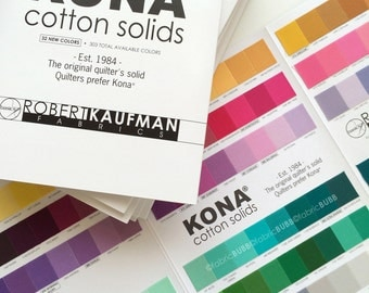 KONA Color Card, 303 Colors including the 32 New Colors released 2014, Robert Kaufman Fabric, Kona Fabric Sampler