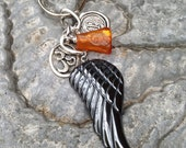 Angel Wing Keychain Personalized  Hematite Wing Key holder with  Raw Amber Yoga Ohm Om Keychain Gift for Men