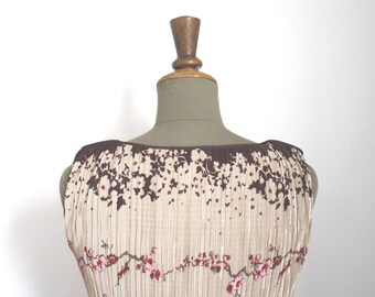 Reserved.....FLORA// Cherry blosson print dress / Crystal pleated dress