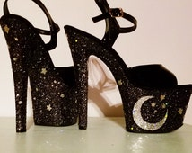 WITCHING HOUR black silver glitter stars moon Pleaser Sky 7 inch exotic pole dance stripper burlesque bondage stiletto platform heels