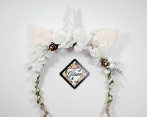 Snow Unicorn Headband- Unicorn Crown-Lolita headband-Horn-Woodland-Whimsical