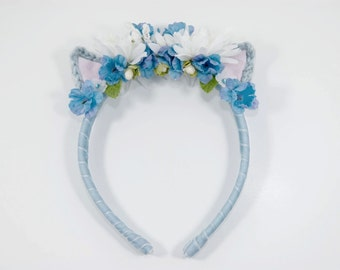 Cat Headband- Flower Headband-Blue-Floral Crown-Kawaii-Crochet-Mori Kei-Cat Ears-Kitty-Flower Girl-Hairpiece-Festivals-Flower Girl Gift