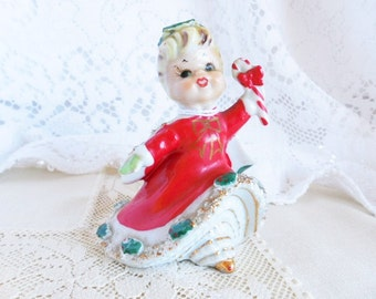 Adorable Lefton Christmas Ornament Bell, 1950's Holiday Girl with Candy Cane